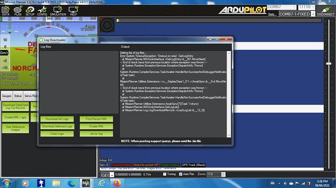 DF log download error