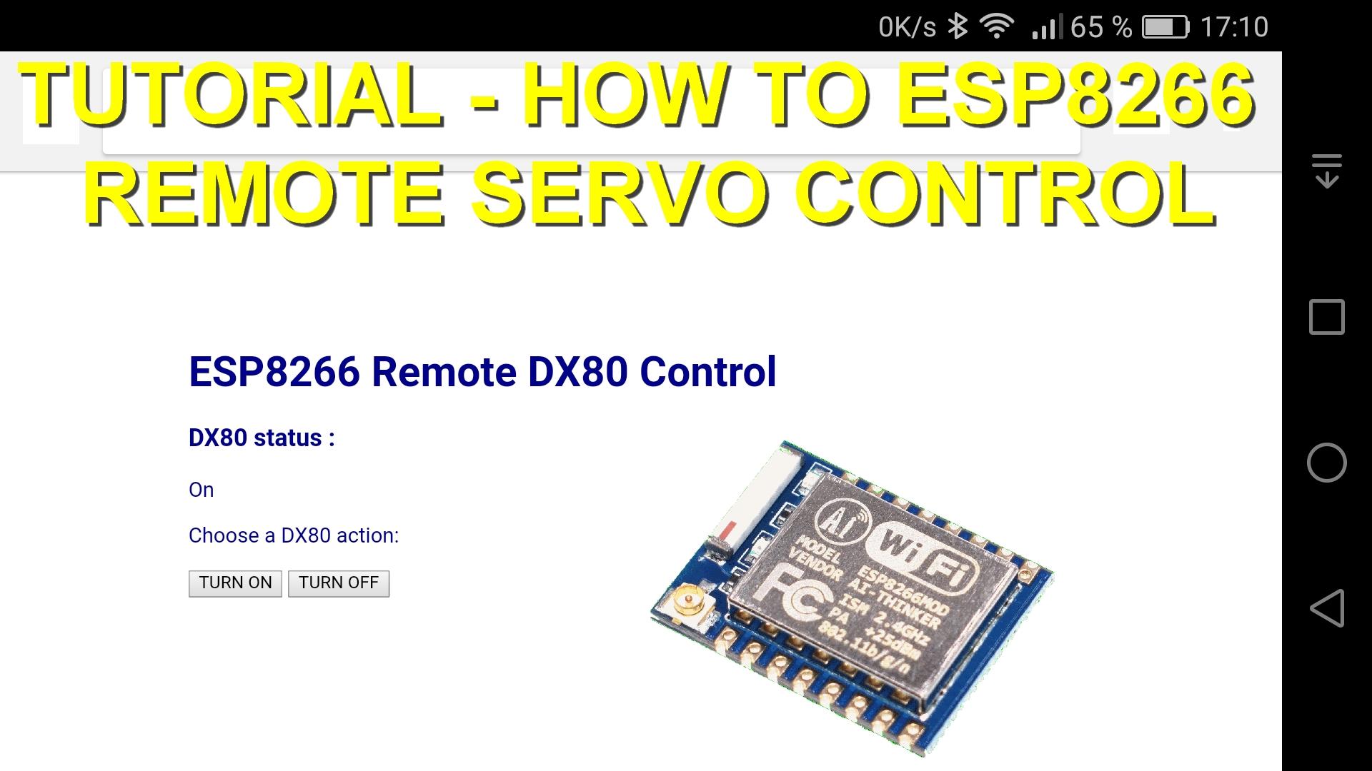 Tutorial how-to : ESP8266 web server (WiFi AP) to remote control a