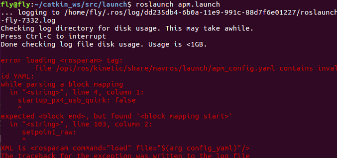 Roslaunch:error loading <rosparam> tag - Copter Simulation