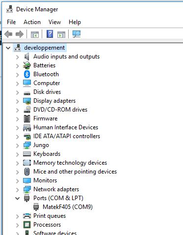 No COM port after ChibiOS install on Matek F405-STD - Mission